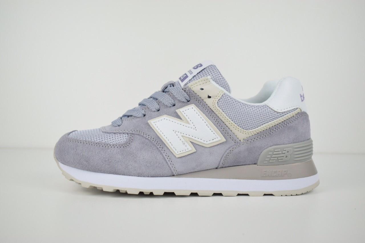 Женские кроссовки New Balance 574 серо-сиреневые + белая N