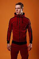 Спортивный костюм мужской весенний/осенний с черными лампасами, цвет бордо