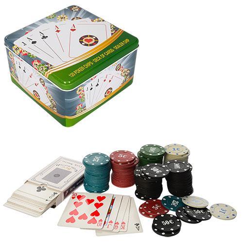 Набір для покеру (120 фішок з номіналом, карти + фішка дилера) мет.коробка 15,5-15,5-8,5 см