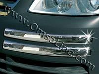 Накладка на передний бампер Volkswagen CADDY (Фольксваген кадди), брови, нерж.