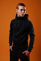 Спортивный костюм мужской весенний/осенний с темно-серыми лампасами, цвет черный