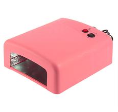 УФ лампа UV 818 на 36 W розовая мощная профессиональная сушка для маникюра со сменным дном