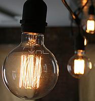Лампа Эдисона 40Вт E27 G80 Amber янтарное напыление
