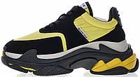 """Мужские кроссовки Balenciaga Triple S Sneaker 2.0 """"Black / Yellow"""" в стиле Баленсиага Трипл С черные с желтым"""