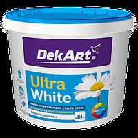 Водоэмульсионная интерьерная краска для стен и потолков белоснежная DEKART 12,6 кг