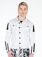 Куртка джинсовая мужская белая с кожаными вставками XL Cipo&Baxx