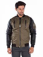 Бомбер-куртка мужская с рукавами из экокожи и вышивкой дракона на спине Cipo&Baxx