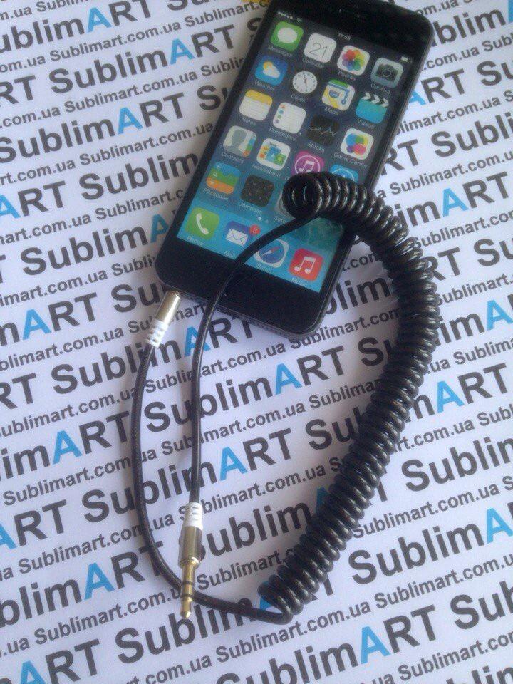 AUX кабель портативный mini-jack на пружине