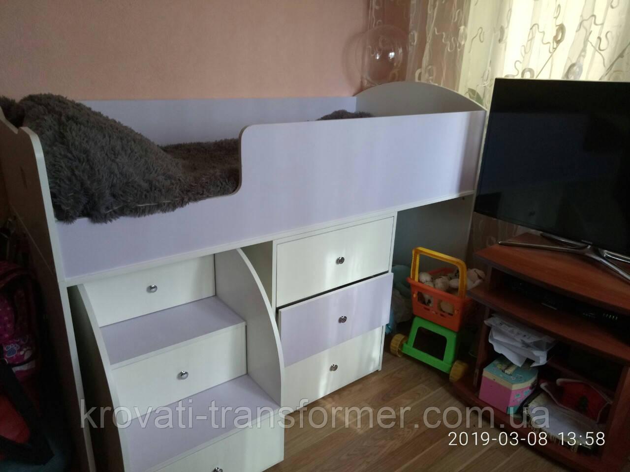 """Детская кровать чердак """" Школьник """"  Лаванда + Белый"""