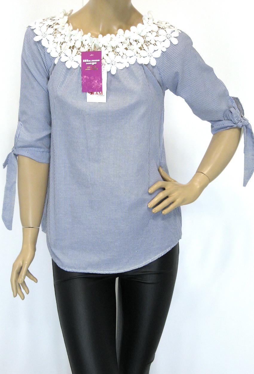 Блузка в полоску з мереживом