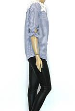Блузка в полоску з мереживом, фото 2