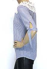 Блузка в полоску з мереживом, фото 3
