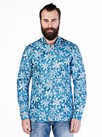 Рубашка мужская с цветами синяя L Cipo&Baxx