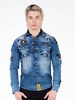 Рубашка джинсовая мужская с нашивками L Cipo&Baxx