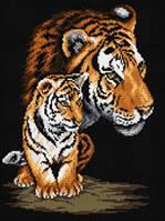 Набор для рисования камнями (холст) «Тигрица и тигренок» LasKo
