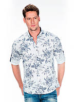 Рубашка мужская с принтом розы белая L Cipo&Baxx