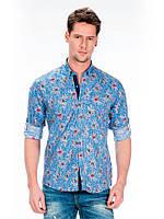 Рубашка мужская с принтом синяя L Cipo&Baxx