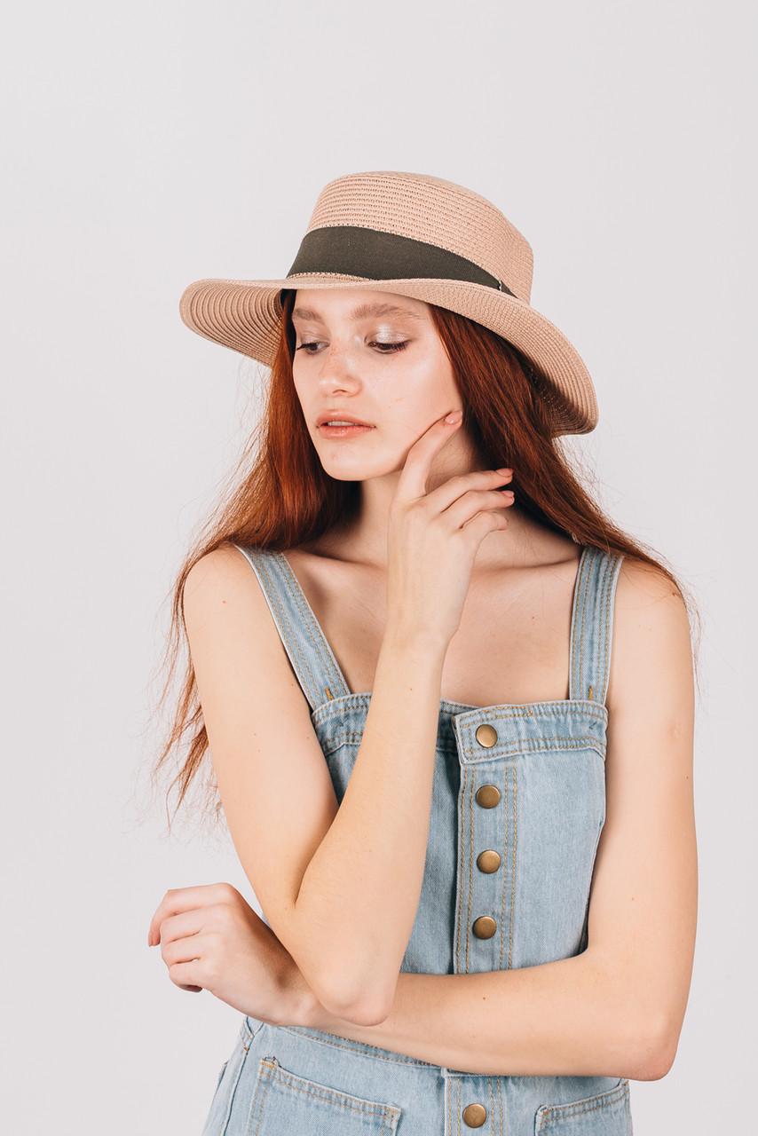 Шляпа канотье Мэнлайо пудровая
