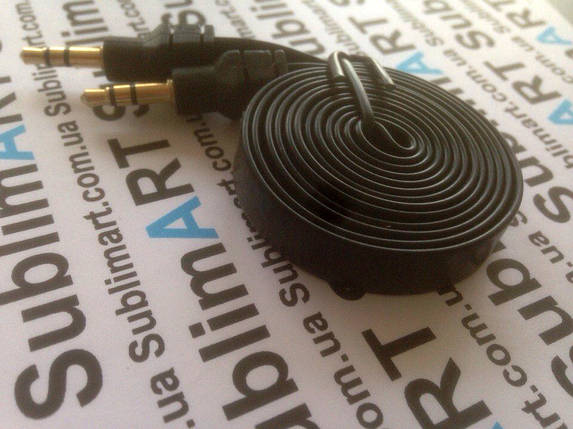 AUX кабель плоский черный mini-jack, 1 м., фото 2