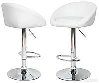"""Высокий барный кожаный стул """"Друм"""" со спинкой и подставкой для ног"""