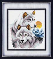 Набор для рисования камнями (холст) «Волки» LasKo