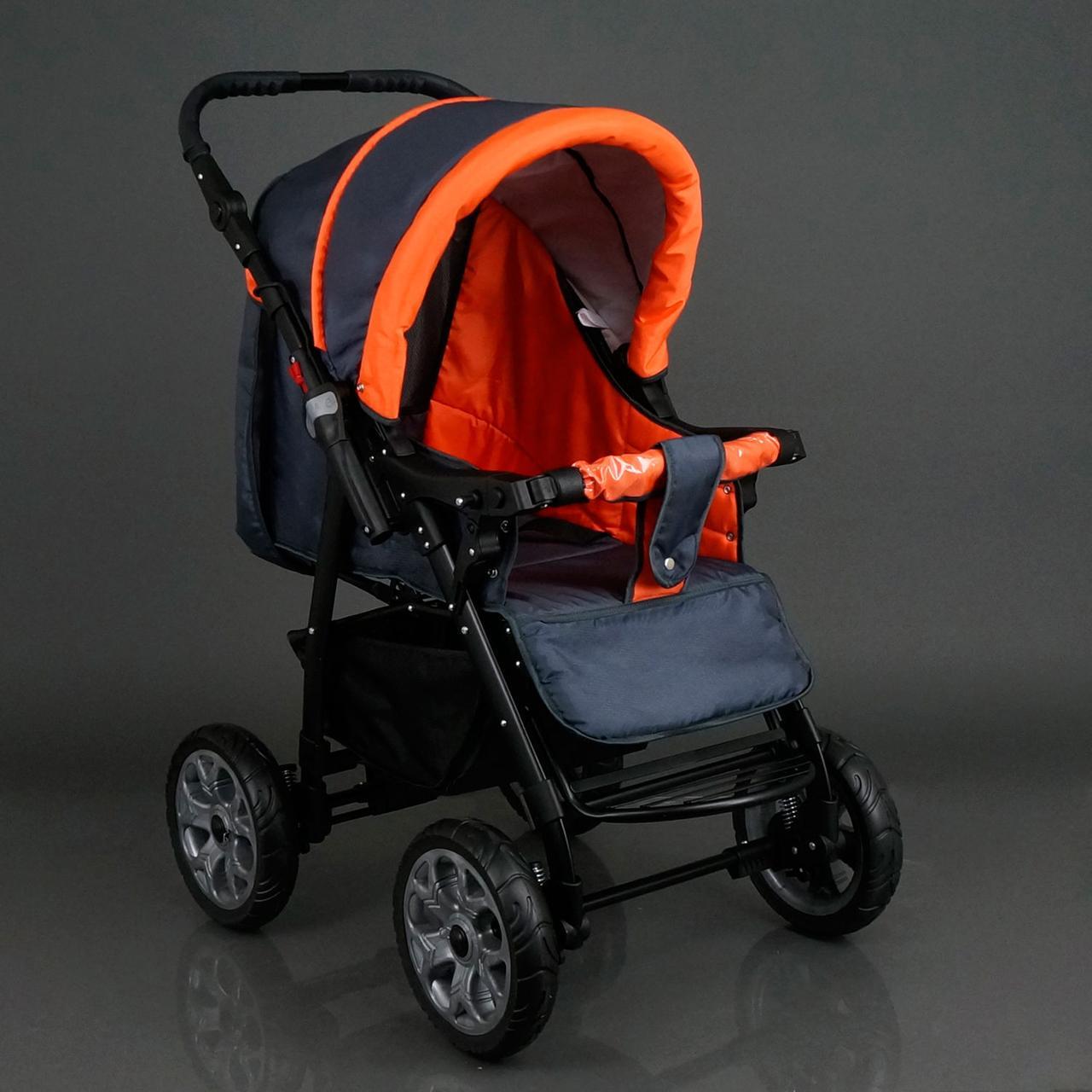 Коляска для детей Viki / 86- C 16 темно-серый с оранжевым 17109