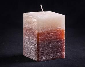 Свеча трехцветная карамельно-коричневая Квадрат