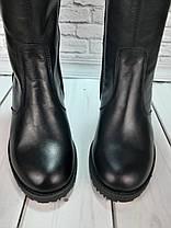 Чобітки осінньо-весняні з натуральної шкіри на плоскій підошві чорного кольору Код 2020, фото 3