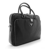 Мужская сумка портфель Prada pd-274 кожаная черная для документов или ноутбука, фото 1