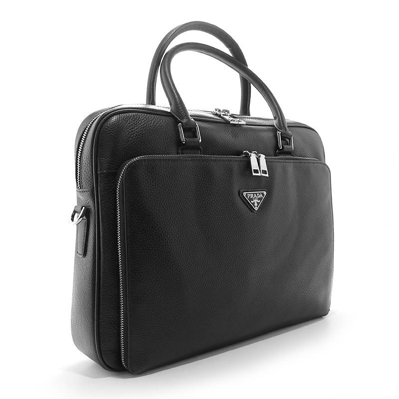 cd0ac2334209 Мужская сумка портфель Prada pd-274 кожаная черная для документов или  ноутбука - Интернет магазин