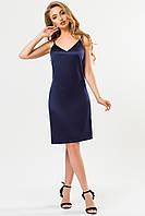 Атласное платье темно-синего цвета, фото 1