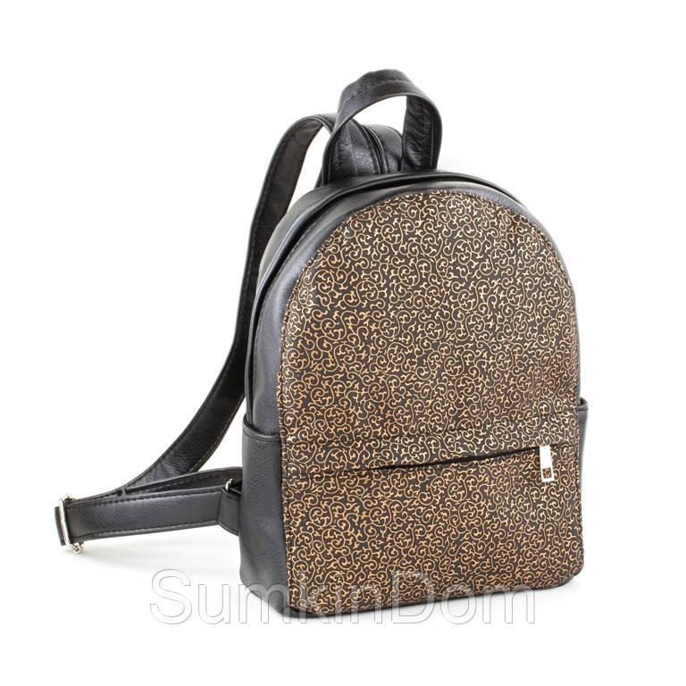 Рюкзак Fancy mini черный титан с золотым узором, фото 1