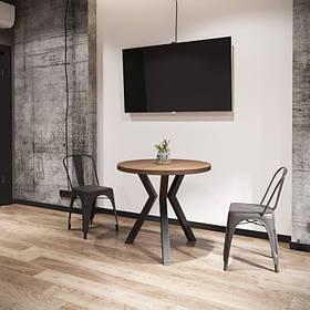 Стол обеденный круглый Свен 3 каркас черный бархат, столешница ДСП Дуб Античный D800 мм (Металл дизайн)
