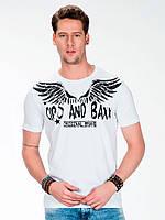 Футболка мужская с логотипом и крыльями из страз белая L Cipo&Baxx
