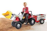 Детский трактор на педалях Rolly Toys 811397, c прицепом и ковшом