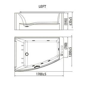 Ванна асимметричная гидромассажная 1700*1200*630мм, левая, акриловая, фото 2