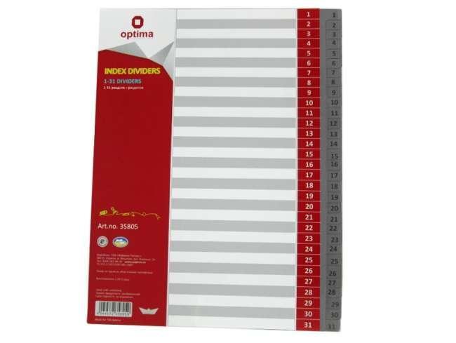 Разделитель листов а4 optima, пластик, 31 раздел, цифровой