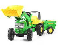 Детский трактор на педалях Rolly Toys 811496, c прицепом и ковшом