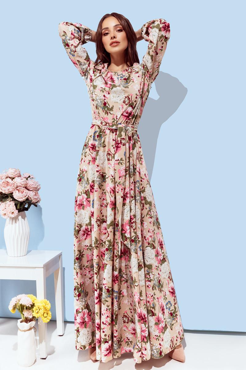 Женское длинное платье Бежевый