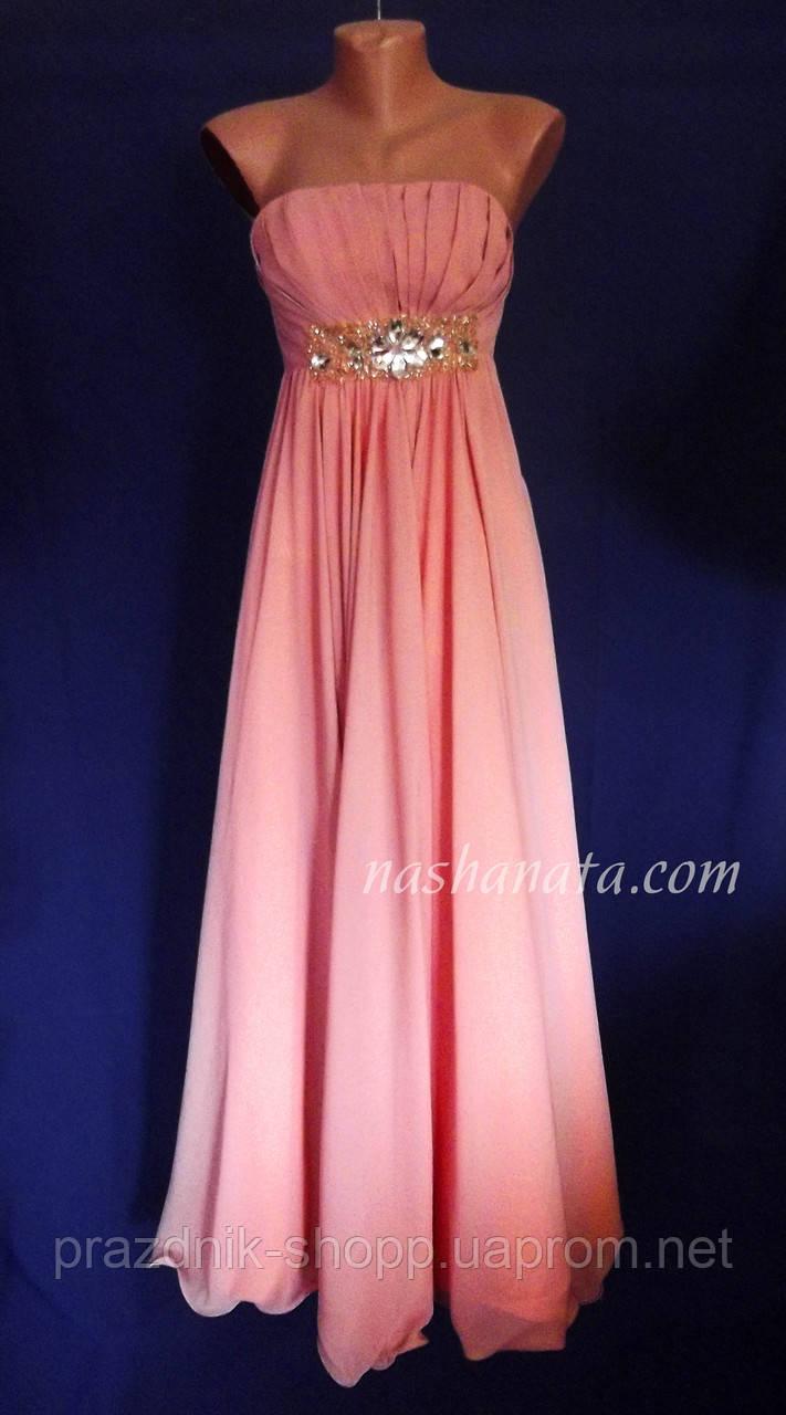 Платье вечернее, персиковое.