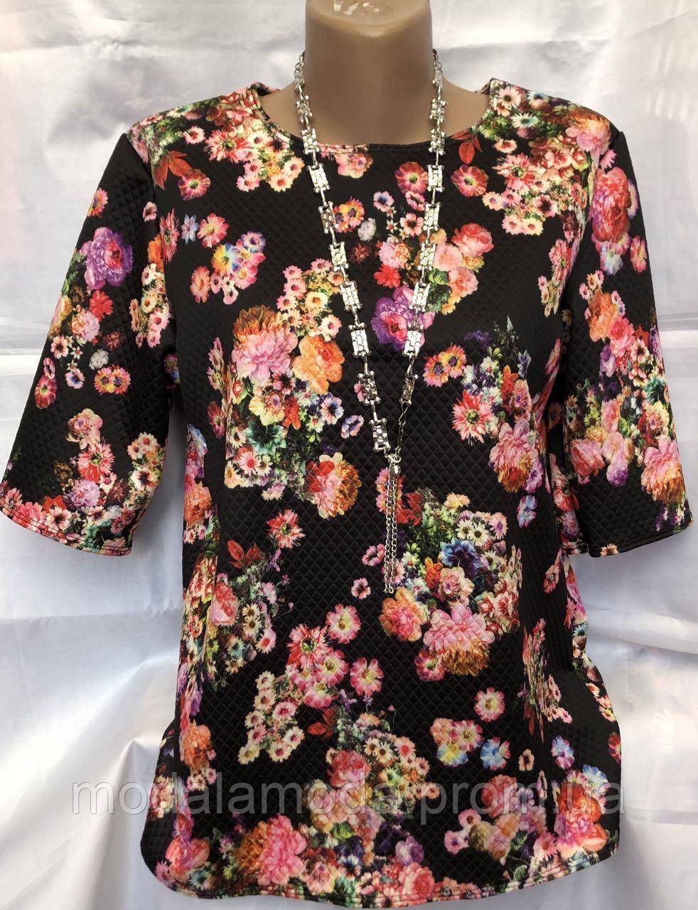 Блуза женская летняя со цветами большого размера