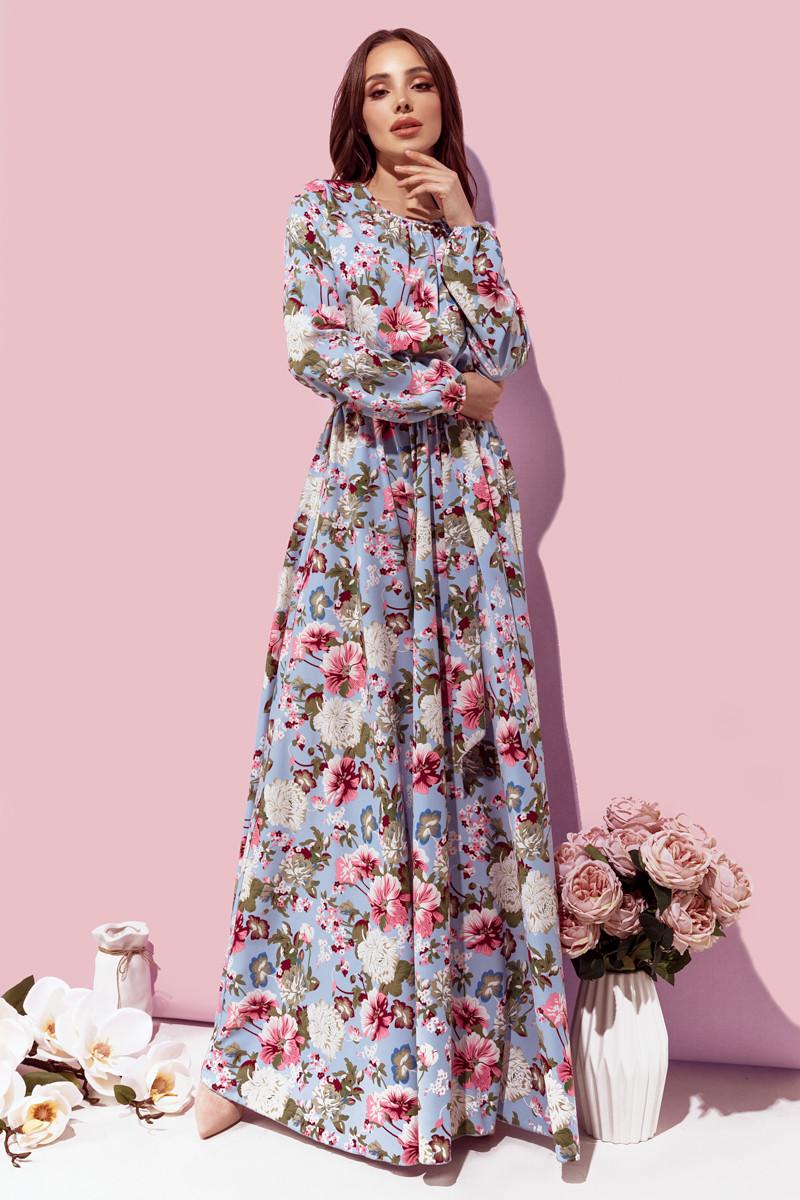 Женское длинное платье Голубой