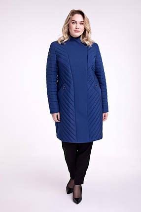 / Размер 48,50,52,62 / Женское демисезонное пальто полуприталенного силуэта 698 цвет электрик , фото 2