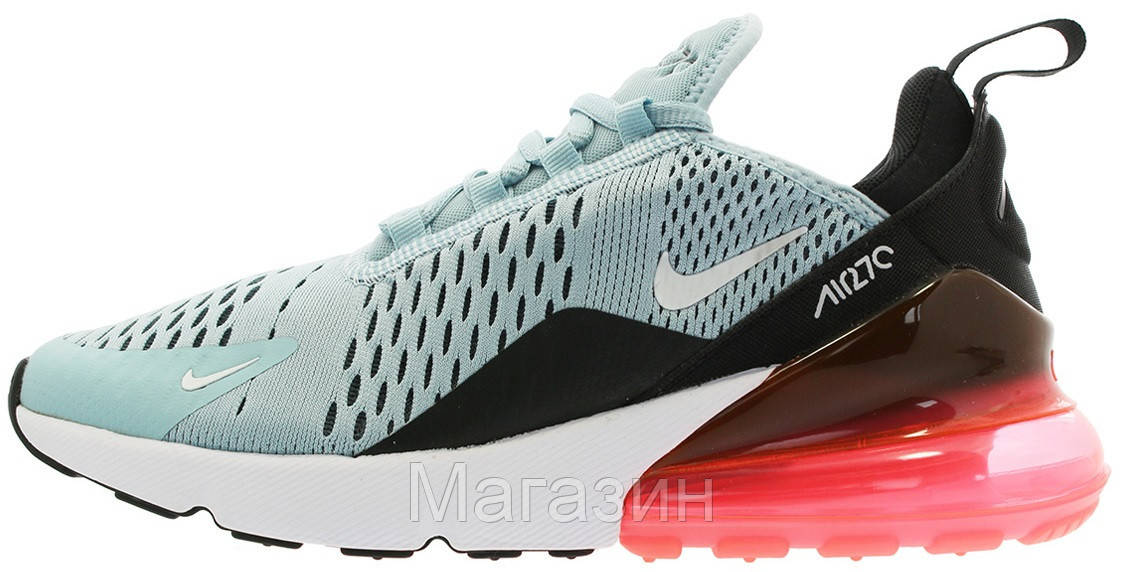 Женские кроссовки Nike Air Max 270 Ocean Bliss/White - Black - Hot Punch AH6789 400 Найк Аир Макс 270 голубые