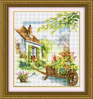 Набор для рисования камнями (холст) «Цветочный дворик» LasKo