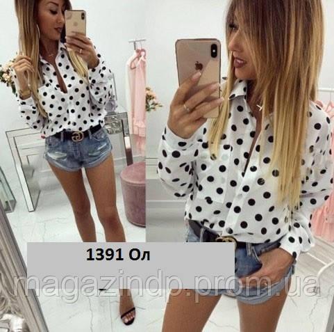 Рубашка женская в горох 1391 Ол Код:914776437