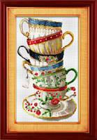 Набор для рисования камнями (холст) «Набор кофейных чашек» LasKo