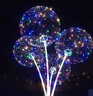 """🔥✅ Шар надувной светящийся на палке со светодиодами BoBo Ballon 19"""" RGB Бобо прозрачный"""