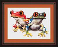 Набор для рисования камнями (холст) «Красочные лягушки» LasKo