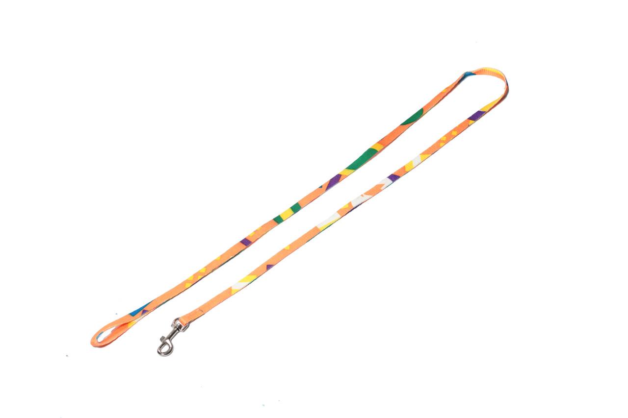 Поводок для собаки ленточный нейлоновый, желтая радуга